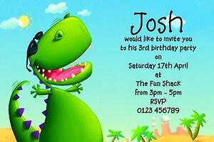Image Is Loading 10 ANY AGE CUTE DINOSAUR BIRTHDAY PARTY INVITATIONS