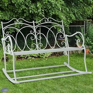 Image Is Loading Outsunny 2 Seater Metal Garden Bench Outdoor Rocking