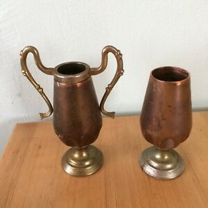 Vintage-Brass-copper-Urn-And-Goblet-Reg-No-893536-Collectable-Metal-Pair