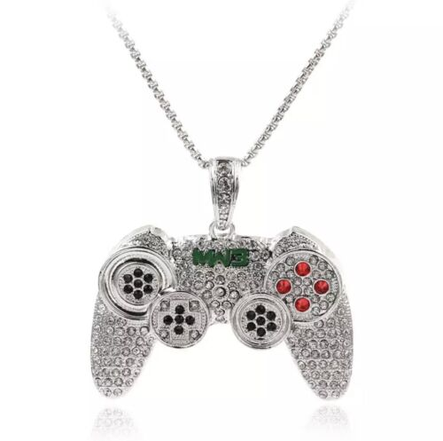 Details about  /Silver Finish Chain Men Playstation Game Controller PS3 PS4 Pendant Rhinestones