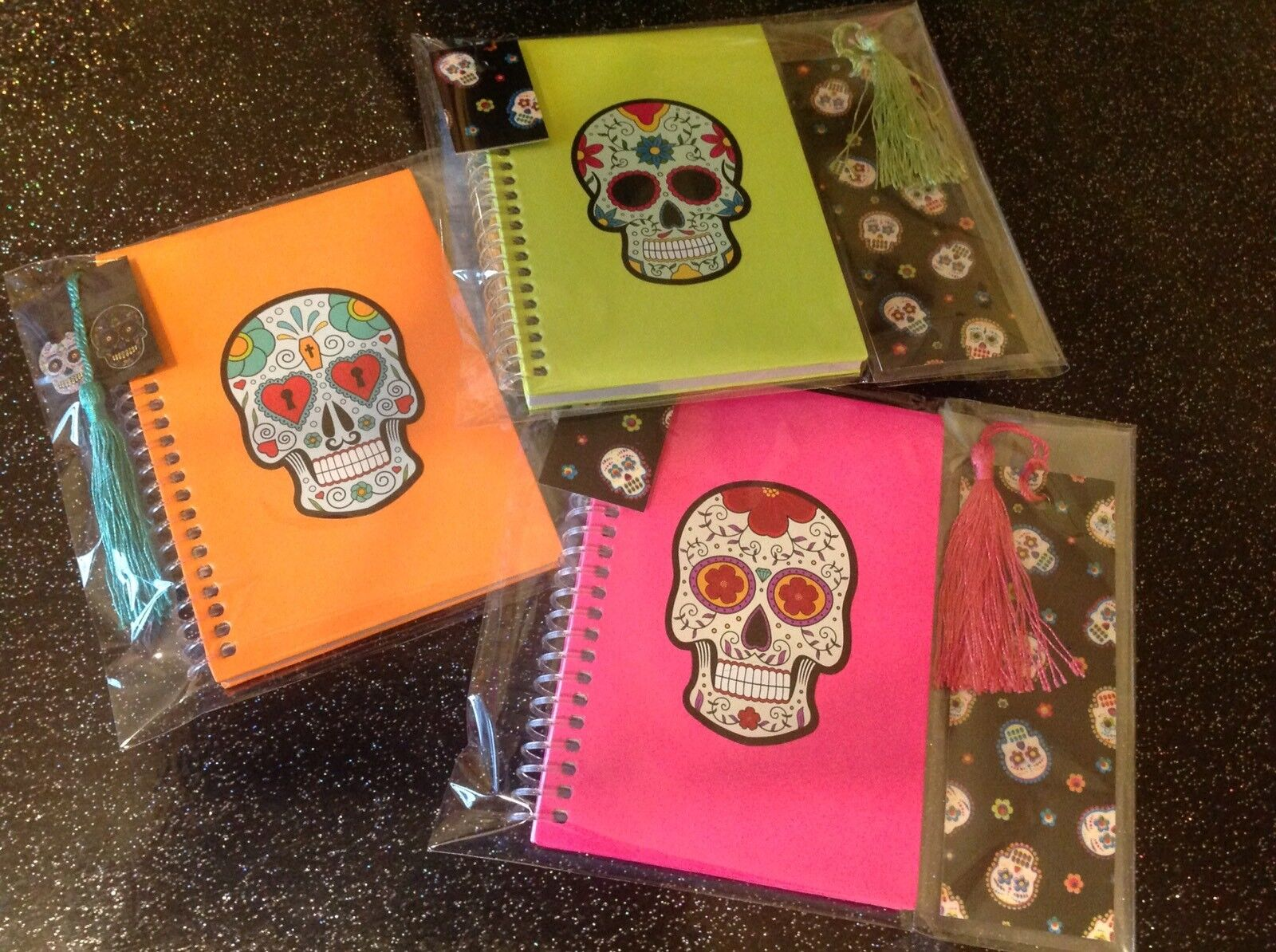 Day Of The Dead Sugar Skull A6 Notebook +Bookmark Choice Of Colours 2pc Gift Set