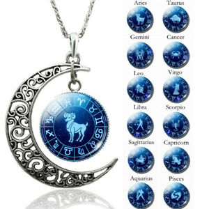 Silver-Moon-Astrology-Zodiac-Necklace-Star-Sign-12-Constellations-Pendant-Ardent