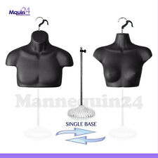 2 Free Standing Mannequin Torsos Male Female Black 1 Stand 2 Hooks For Hanging