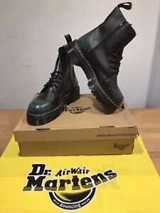 Detalles de Dr. Martens Impermeable Botas De Plataforma De Cuero Vintage Verde!! nuevo!! UK12!! sólo £ 149,90! ver título original