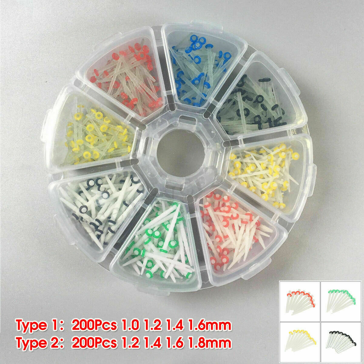 200Pcs Dental Fiber Post Glass Quartz Teeth Restorative 1.0 1.2 1.4 1.6 1.8 Post
