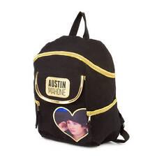 Austin Mahone Black & Gold Canvas Backpack Bookbag Heart Photo AM Mahomie NWT