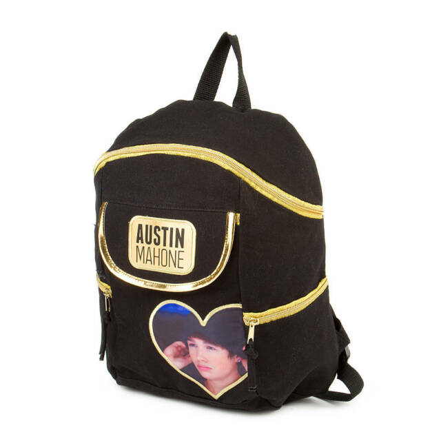 Austin Mahone Girl/'s Black /& Gold Canvas Backpack Bookbag Heart Photo AM Mahomie
