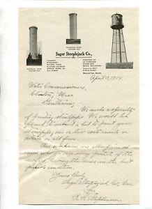 Details about Vintage Illustrated Letterhead SAGER STEEPLEJACK CO Brockton  MA 1914 chimneys