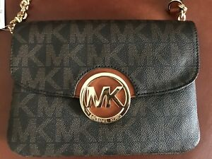 f27328aed0a7 Image is loading MICHAEL-Michael-Kors-Signature-Small-Fulton-Flap-Gusset-