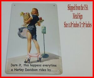 Panty-Dropper-Harley-Davidson-Man-Cave-DECOR-Metal-Tin-SIGN-Pinup-Girl-BAR-Shop