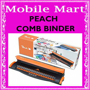 PEACH◉COMB BINDING MACHINE A4◉PLASTIC 21 LOOP HOLE PUNCH BINDER◉BINDS 50 SHEETS◉ 7640124890700