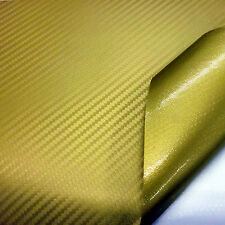 Gold Carbon Fibre Car Wrap Vinyl Sheets 1500mm x 300mm