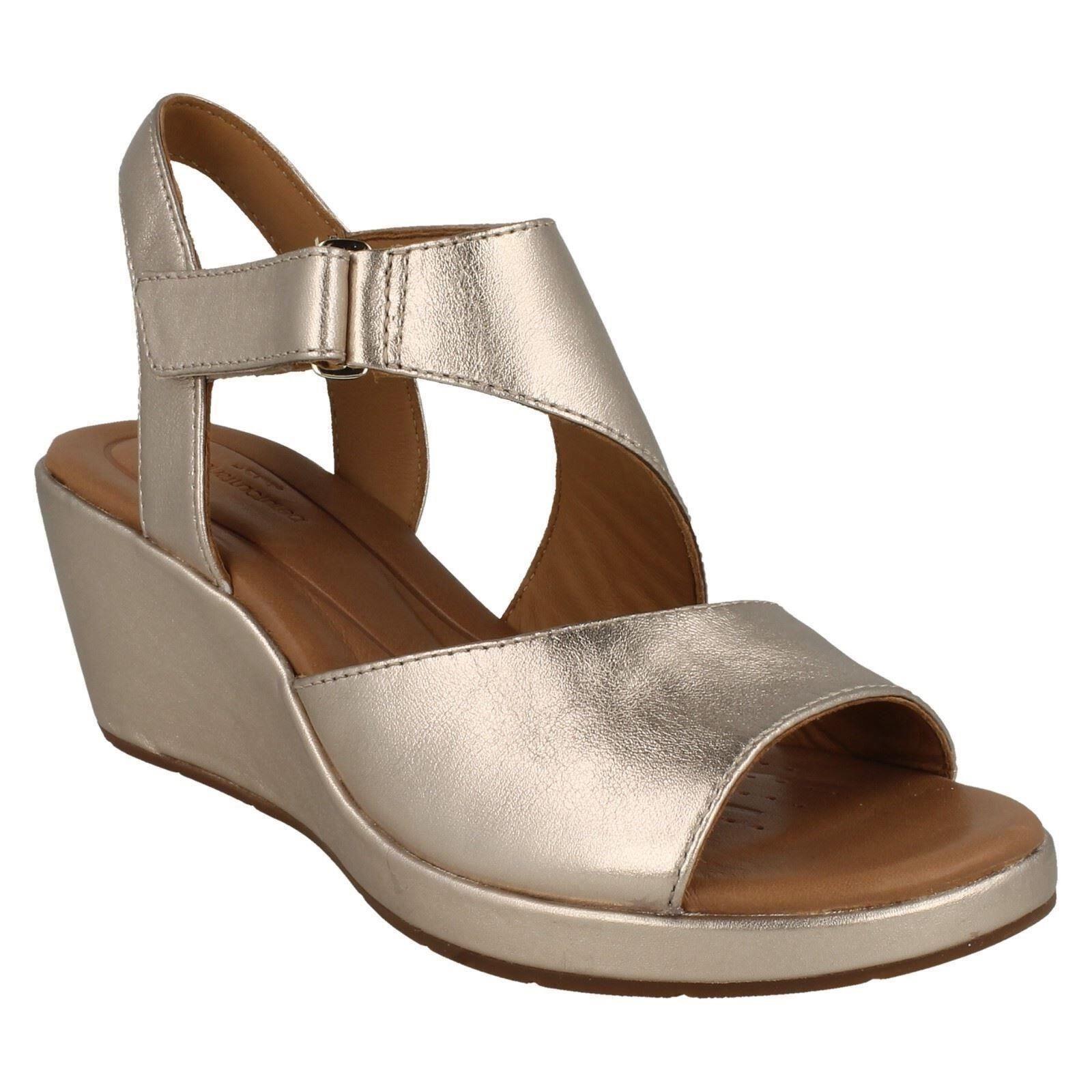 Damen Clarks Unstrukturiert Leder Keilabsatz Sommer Sandale Größe Un Plaza