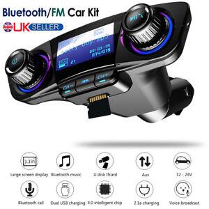 Bluetooth Car Kit Wireless FM Transmitter Dual 2 USB Charger Audio MP3 Player UK