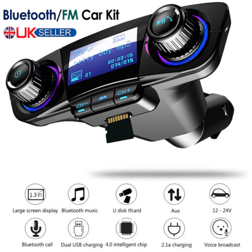 Bluetooth Car FM Transmitter Wireless Radio MP3 Music Player & 2 USB Charger Kit
