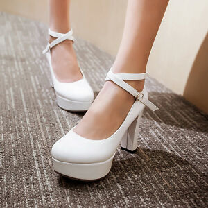 Image Is Loading New Womens High Thick Heel Platform Cross Strap