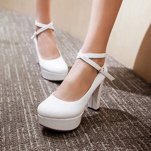 New-Womens-High-Thick-Heel-Platform-Cross-Strap-Wedding-Shoes-Pumps-Plus-Size