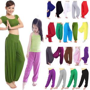 WOMEN GIRLS YOGA HAREM TROUSERS ALI BABA LONG PANTS BAGGY GYM  HAREEM LEGGINGS