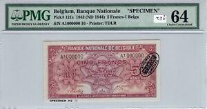 Belgium 1943 1944 5 Francs Specimen PMG Certified Banknote Choice UNC 64 TDLR