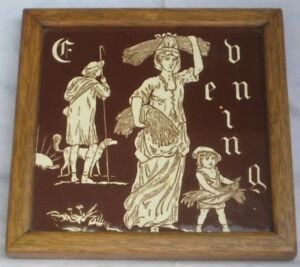 Antiques Minton Hollins Large Tile Times Of The Day Series 1880s Evening In Wood Frame Consumers First Architectural & Garden