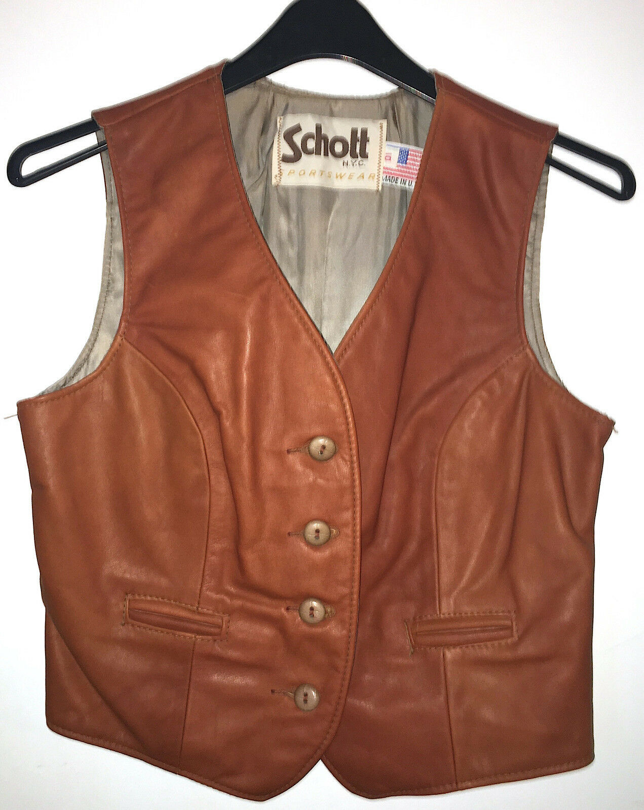 Vintage woman's Schott leather vest size 10 10 10 8010ef
