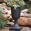 x 29 in. Cast Stone Italian Urn Patio Garden Planter in Aged Charcoal 17-1//2 in