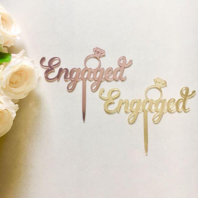 Engaged Cake Topper Acrylic Mirror Rose Gold Engagement Bridal Shower Decoration