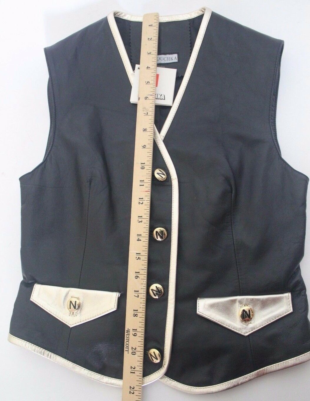 RARE  NOUCHKA Women's Genuine ITALIAN LEATHER Vest Size Size Size 44 Made in    384 468616