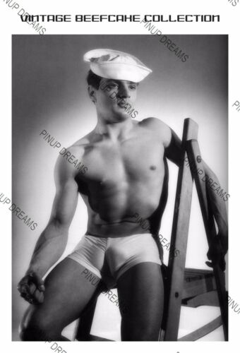 1950s Vintage Male Model Pinup Poster Re-print Black and White Images 00