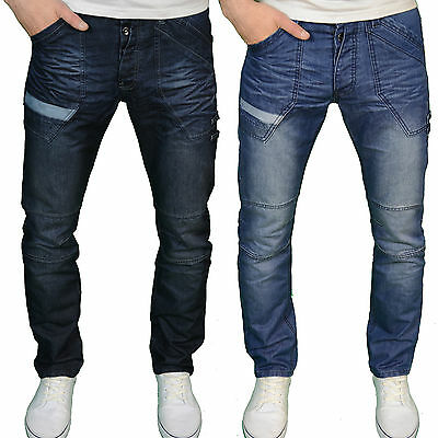 Enzo Mens Designer Branded Regular Fit Straight Leg Panel Detail Jeans, BNWT