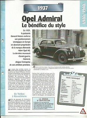 Fornito Voiture Opel Admiral Fiche Technique Auto 1937 Collection Car