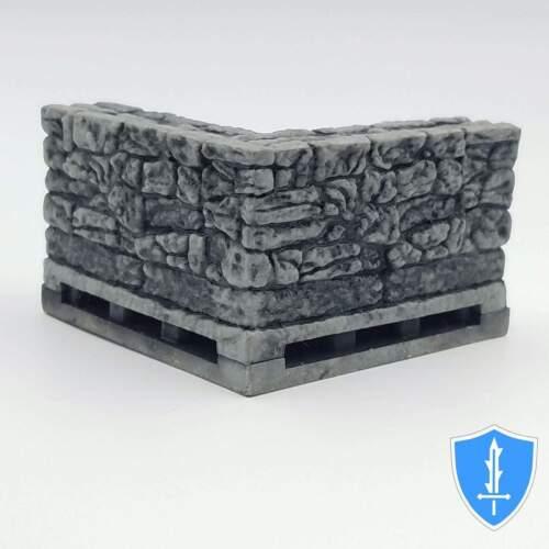 """Stone Inside Corner Wall x2 WizKids Warlock Tiles D/&D Dungeon 1/"""" Tall"""