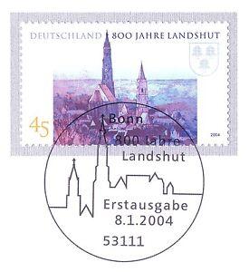 Rfa 2004: Landshut 800 Ans! Nº 2376 Avec Le Bonner Ersttags Cachet! 1 A! 1904-l! 1a! 1904afficher Le Titre D'origine