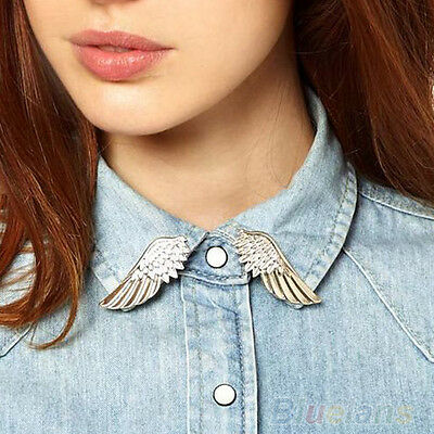 Hot Sale Fashion Punk Wings Style Collar Pin Brooch Pin New BA8A