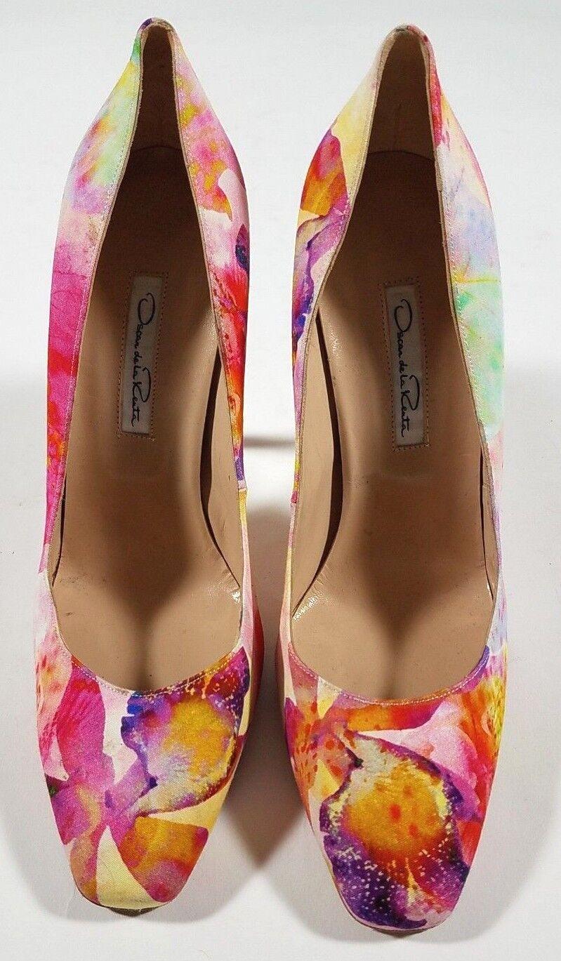 100% autentico OSCAR DE DE DE LA RENTA rosa Floral Print Pumps Heels scarpe - Dimensione 40   10  a prezzi accessibili