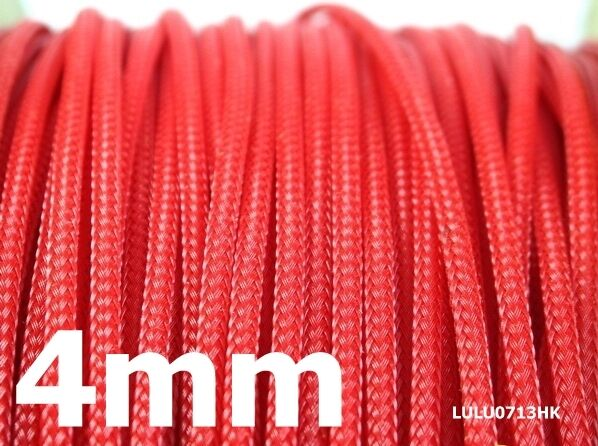 4mm RED Expandable Braided DENSE Cable Sleeve x5m