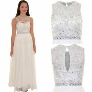 Ladies Sleeveless Jewel Floral Mesh Chiffon Lined Maxi Wedding Prom Gown Dress
