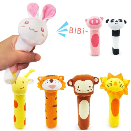 Soft Sound Animal Handbells Safety Plush Rattle For Newborn Baby Funny Toy `yf6