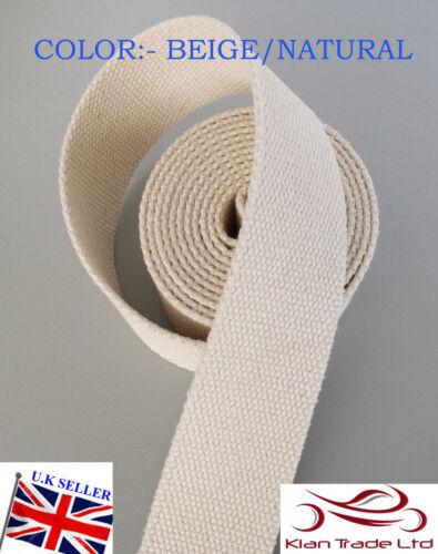 Beige//Natürlich 38mm 3.8cm Leinwand Verstärkt Baumwolle Gurtband Band Tüte