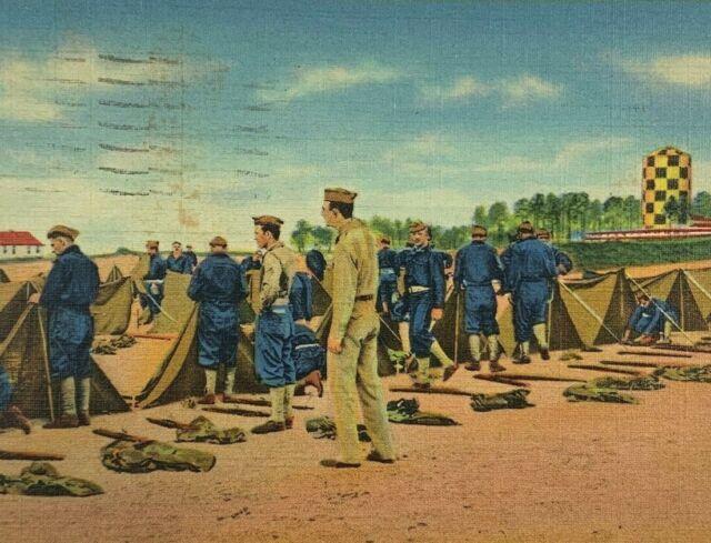 Postcard Pitching Shelter Tents Camp Croft Spartanburg SC ...