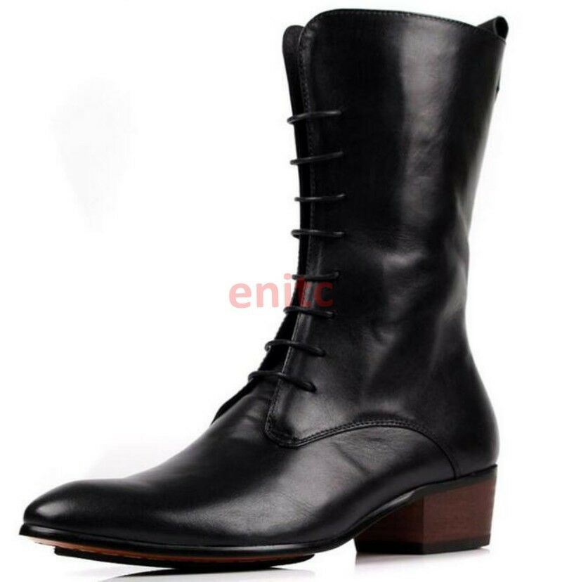Genuine Leather Pointed Lace Up High Tops Mens Knight Riding Cowboy Boots Shoes