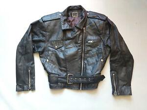 Vintage-80-039-s-BEDO-Women-Leather-Perfecto-Bikers-Motorcyce-Jacket-Zipper-Grey-M