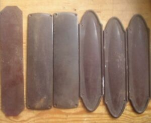 6 x Vintage Art Deco era Bakelite finger door plates period home push plate