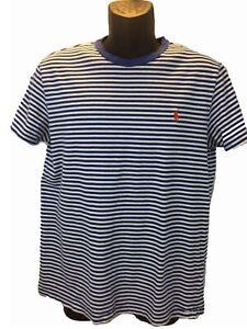 Polo-Ralph-Lauren-Mens-T-Shirt-Short-Sleeve-Collarless-Stripes-Cotton-Slim-L