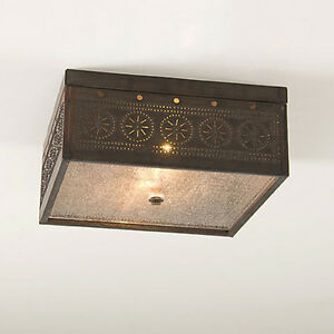 Details About Irvin S Tinware Square Ceiling Light Primitive Country Lighting New