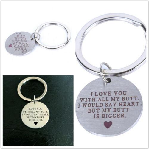 Key Ring I LOVE YOU Keychain Round Keyfob Husband Boyfriend Gift Keyring LD