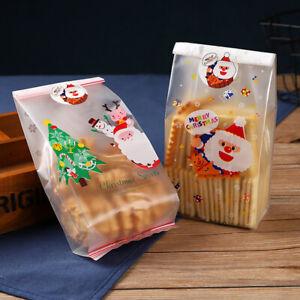 50Pcs-Christmas-Bag-Santa-Claus-Snowman-Cellophane-Cookie-Fudge-Cookie-Candy-Bag