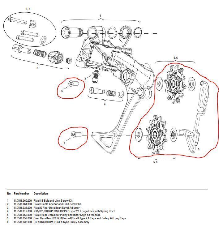 Jaula interior Med., roles de conmutación, tornillos, SRAM  rival 1 desviador trasero, a partir de 2016  buena calidad