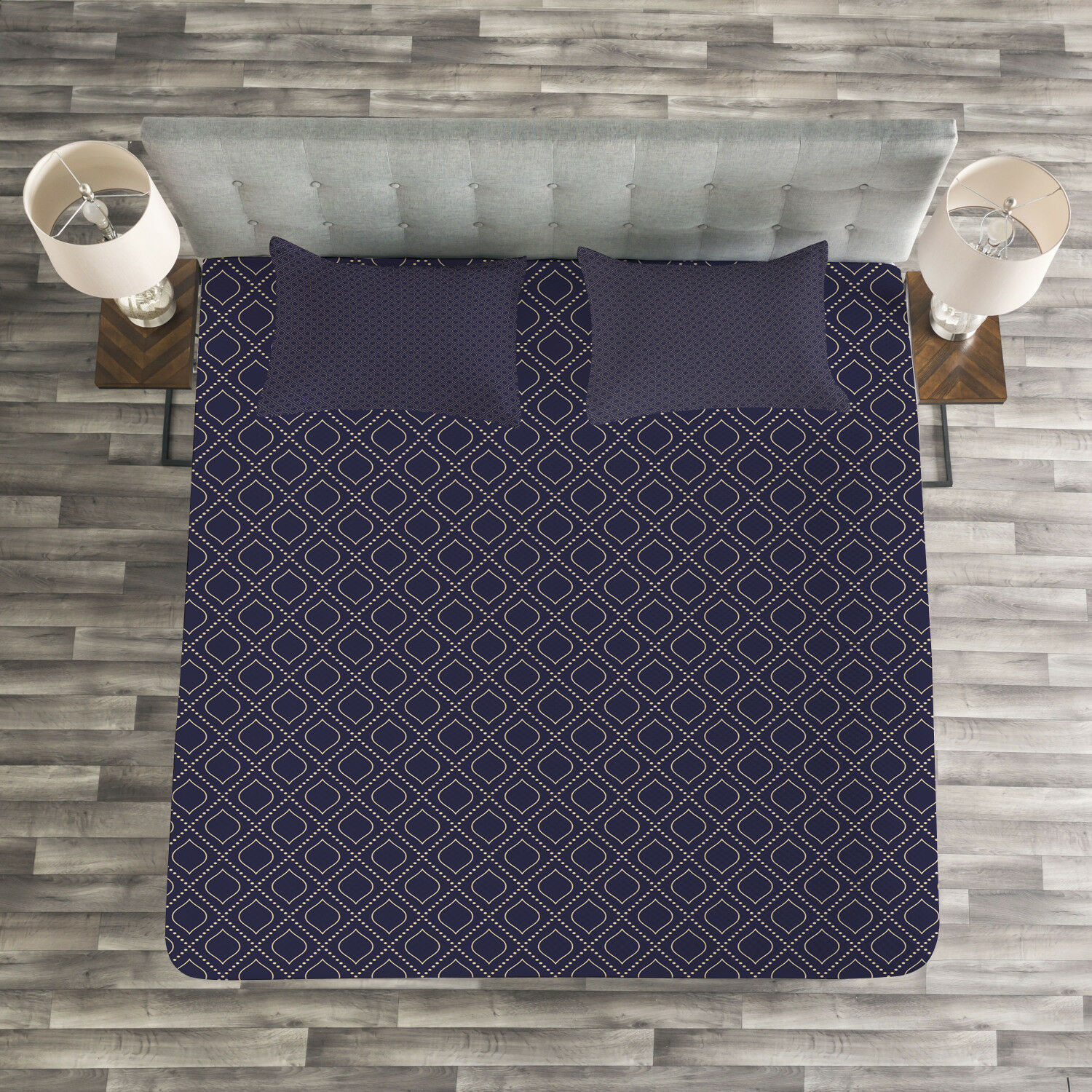Navy bluee Quilted Bedspread & Pillow Shams Set, Geometric Ogee Tile Print