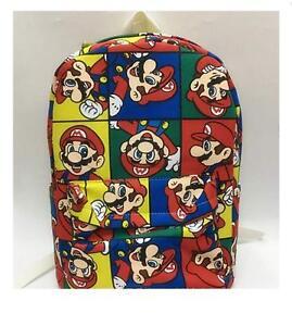 grande vente 6422e ed285 Détails sur Super Mario Bag Sac à dos Imprimé Coloré Etudiant Sac à dos  cartable